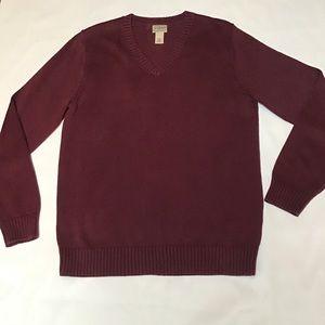 L.L. Bean- 100% Cotton, V-Neck Sweater